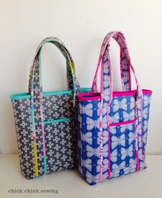 chick chick sewing: The Kate's Tote (from my new zakka patterns!) ♪新作トートバッグのご紹介(新作雑貨パターンより)♪