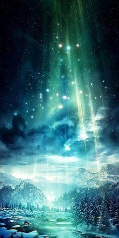 漫画 影视动漫 绘画 手绘 插画手绘 动漫 插画 - 你看极光 #sky #stars #galaxy #fantasy