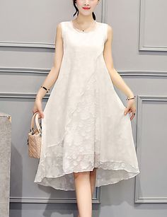 Women's Plus Size Going out Party Street chic Loose Dress Embroidered Ruffle Knee-length Asymmetrical Sleeveless Silk White /Black Summer