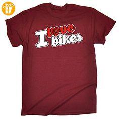 I Love ...  Herren T-Shirt, Slogan Gr. Large, Rot - Maroon - Shirts mit spruch (*Partner-Link)