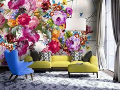 Create a positively pleasant spring nuance to your living room using the flower-patterned inspiration in great variations of interior decor ideas. Decor, Wall Murals, Mural, Wall Decor, Floral Wallpaper, Home Decor, Mural Wallpaper, Wall Design, Room Decor