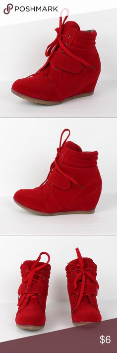 HiTop faux suede hidden wedge sneaker Beata-02 Red ¥ my boutique ¥  *All items brand new *Bundle for discounts *No trades & PayPal *Please feel free to ask any questions *Due to the volume of shoes that we have for sell, we really dont have the manpower for model pic.  Thank you for your understanding, Happy Poshing!!  *** We dont restock any of our styles, just grab before its gone :) Shoes Sneakers