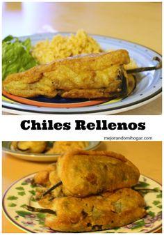 Mexican Cooking, Mexican Food Recipes, New Recipes, Chilles Rellenos Recipe, Chili Relleno Recipe Authentic, Stuffed Chili Relleno Recipe, Kitchen Recipes, Cooking Recipes, Picadillo Recipe