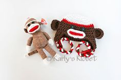 White Brown and Red Sock Monkey Pair