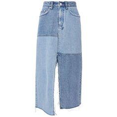 Ksubi Women's Pip Patchwork Midi Denim Skirt ($185) ❤ liked on Polyvore featuring skirts, denim, asymmetrical skirt, zipper skirt, asymmetric midi skirt, midi skirt and blue midi skirt