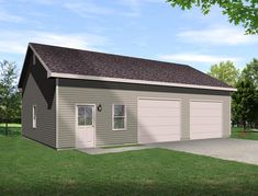This over sized auto lift garage plan has ten foot walls with a ceiling that slopes up to twelve feet high. Room enough for an auto lift and work space around it. Country House Plans, Best House Plans, Pole Barn Garage, Garage Doors, 2 Car Garage Plans, Garage Ideas, Garage Blueprints, Carport Ideas, Door Ideas