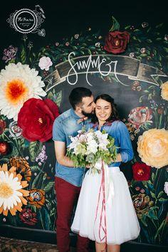 фотозона свадьба букет невесты грифельная доска Кемерово на заказ бумажные цветы www.flofra.ru