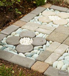 best Ideas for small backyard patio pavers river rocks Garden Stones, Garden Paths, Garden Art, Rocks Garden, Small Backyard Patio, Backyard Landscaping, Backyard Play, Outdoor Projects, Garden Projects