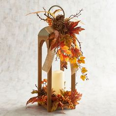 Large Orange Faux Floral Lantern with LED Flameless Candle Fall Lanterns, Large Lanterns, Fall Candles, Lanterns Decor, Candle Lanterns, Fall Harvest Decorations, Thanksgiving Decorations, Fall Decor, Fall Church Decorations