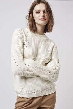 Rib Detail Pointelle Crew Neck Jumper - Topshop