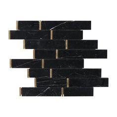 Nero Brass Linear Marble Mosaic - 12 x 12 - 100652254 Marble Mosaic, Mosaic Tiles, Tile Art, Black And Gold Bathroom, Copper Bathroom, Black Backsplash, Kitchen Backsplash, Backsplash Ideas, Tile Ideas