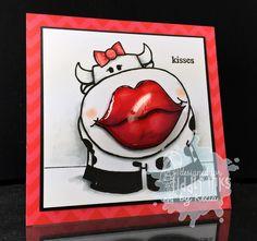 Smoochy cow kisses card by Kecia Waters