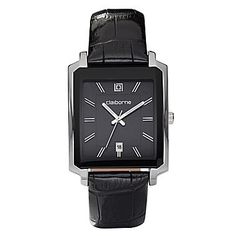 Reloj rectangular para hombres Claiborne Cuero Negro  Precio: $80