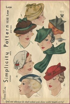 vintage Simplicity Pattern Hats