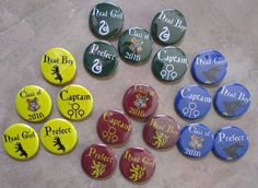 """Hogwarts House colors buttons 1.25"""" / 32mm pinback badges by BlackUmbrellaInd from Black Umbrella Industries. Find it now at http://ift.tt/1SRKqi4!"""