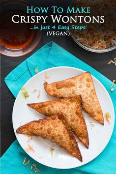 Learn how to make wontons yourself in this easy 4 step tutorial! These tofu & vegetable crispy wontons make for the perfect snack, appetizer, or lunch. And once you start dipping, you won't be able to stop enjoying them! #vegan #veganwontons #wontons #crispywontons #vegetablewontons   Vegetarian Gastronomy   www.VegetarianGastronomy.com