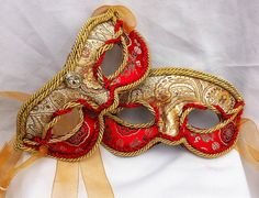 Handmade Couples Red and Gold Masquerade Masks by DaraGallery