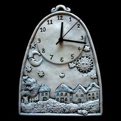 Hodiny / Zboží prodejce Ceramics   Fler.cz Clock Painting, Clock Art, Clock Decor, Cat Clock, Pottery Houses, Ceramic Houses, Ceramic Pottery, Ceramic Art, Polymer Clay Ornaments