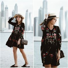 HIGHEST BUILDING ON EARTH - Lovely Pepa by Alexandra. Black floral embroidered dress+black backless loafers+black chain shoulder bag+straw hat. Fall Casual Outfit 2016