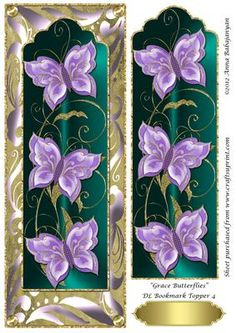 "Grace Butterflies DL Bookmark Topper 4 on Craftsuprint designed by Anna Babajanyan - A very elegant DL card topper which I have designed with my latest ""Grace Butterfly Bookmark"" design placed on my ""Antique"" background and decorated with my Rich swirls decorative border design. An extra image of the bookmark layer is included on the sheet which you can use to decoupage either the whole bookmark or just cut out the butterflies and decoupage the butterflies on the topper for a beautiful 3D…"