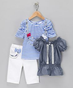 Take a look at this White & Blue Stripe Bow Pants Set - Infant & Toddler by Nannette on #zulily today!