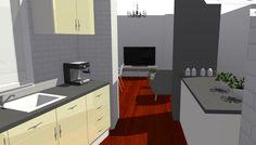 VIV.A perspectiva hacia salón desde cocina
