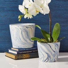 Marble Effect Container Plant Pots Set Of Two - The perfect living room accessory as winter draws in. Craft is at the heart of the artisan trend, as it brings together rustic materials such as wood, rope and clay.