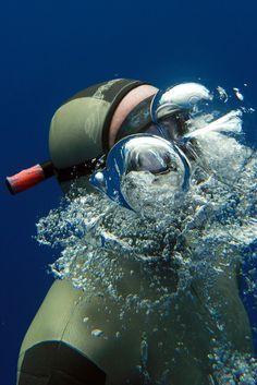Freediver surfacing
