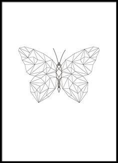 Poster met vlinder in geometrische vormen