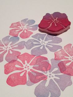 Hawaii Flower Hand Carved Rubber Stamp for Card and by PoshBinky