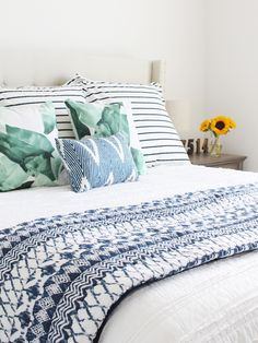 Modern farmhouse bedroom reveal! Love the mix of blues, greens and white.