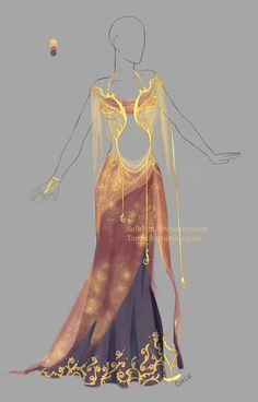 Outfit design adopt - 8 - Closed by Sellenin Dress Drawing, Drawing Clothes, Outfit Drawings, Fantasy Dress, Fantasy Outfits, Fantasy Clothes, Anime Dress, Illustration Mode, Fashion Art