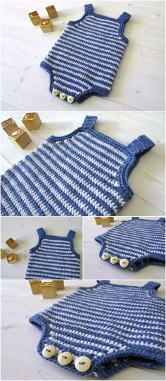 Crochet Baby Striped Romper Source by anastaciapilieva Sweaters Crochet Romper, Crochet Bebe, Crochet For Boys, Newborn Crochet, Crochet Baby Booties, Free Crochet, Crochet Pattern, Crochet Gifts, Free Knitting