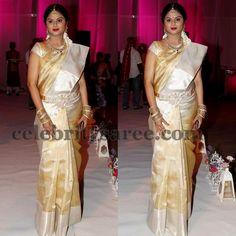 Cream and Gold Uppada Saree | Saree Blouse Patterns