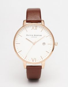 Image 1 of Olivia Burton Timeless Leather Strap Oversize Dial Watch