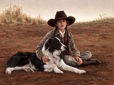 The Guardian artist Carrie Ballantyne American) Country Art, Country Girls, Country Life, Andrew Wyeth, Border Collie Art, Akira, Cowgirl And Horse, Cowgirl Hats, Western Art