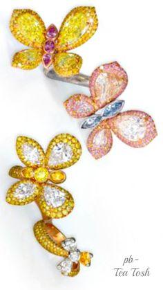David Morris Fancy & Vivid Blue, Pink & Yellow diamond Butterfly ring