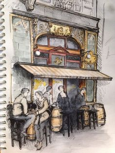 sketches архитектура. Кафе. Будапешт. Doodle Sketch, Drawing Sketches, Building Sketch, Fantasy Drawings, Urban Sketchers, Watercolor Sketch, Elements Of Art, Art Sketchbook, Budapest