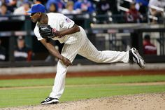CrowdCam Hot Shot: New York Mets relief pitcher LaTroy Hawkins pitches during the ninth inning against the Miami Marlins at Citi Field. Mets won 4-3. Photo by Anthony Gruppuso