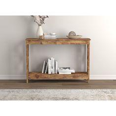 Gracie Oaks Daffodil 47.25'' Console Table & Reviews | Wayfair Large Shelves, Low Shelves, Floating Shelves, Shelf, Bureau Design, Console Table, Living Room Redo, Table Design, 3d Studio