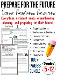 This 100+ pages student packet bundle provides students with information, handouts, activities, and projects that will help to introduce them to the skills necessary for obtaining a job or career. #resume #interview #career #teaching #education
