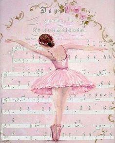 Ballerina on sheet of music À faire imprimer et encadrer pour RM ?