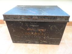 Vintage Metal Deeds Strong Box Gloss Black Painted Finish with two side handles Circa 1910 by VintageFoggy on Etsy