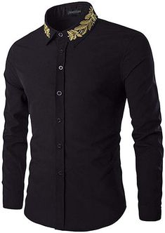 jeansian Men's Gold Leaf Embroidery Long Sleeves Shirts Black M African Shirts For Men, African Dresses Men, African Men Fashion, African Wear, Formal Shirts, Casual Shirts, Long Sleeve Shirt Dress, Long Sleeve Shirts, Suit Fashion