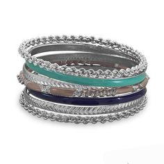 Bangle Bracelets Set of 7 Silver Tone, Blue and Tan Enamel – Tribal Native L.A.