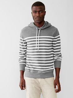 Pique stripe hoodie