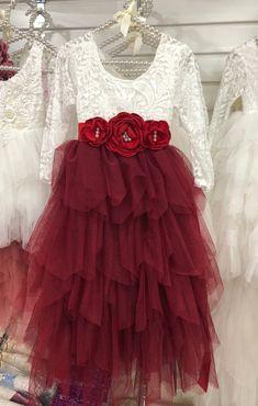 Long Ruffles Bohemian Flower Girl Dress - Wine Red, with Flower Corsage Belt Bohemian Flower Girl Dress, Toddler Flower Girl Dresses, Toddler Dress, Boho Dress, Girls Dresses, Bohemian Flowers, Bridal Dresses, Bridesmaid Dresses, Bridal Lace