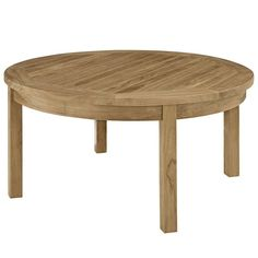 Modway Furniture Modern Marina Outdoor Patio Teak Round Coffee Table in Natural