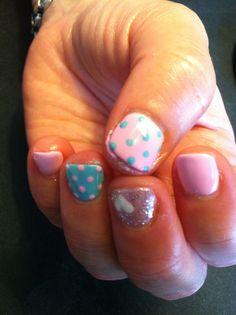 Pink and aqua nails, sparkle, heart, polka dots. Fun nails