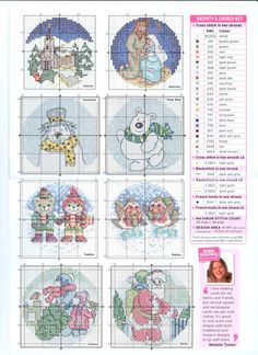 Snow globe cards, charts, page 2/2. Note: see page 1/2 for the rest of colour list